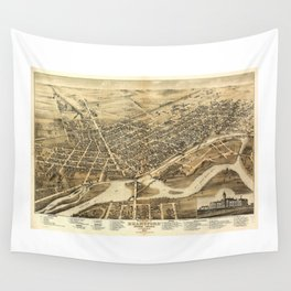 Bird's Eye View of Brantford, Ontario, Canada (1875) Wall Tapestry