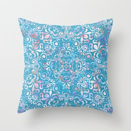 Summer Sea Mandala Throw Pillow