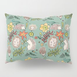 Hedgehogs Field in Green Pillow Sham