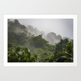 Mist and Clouds Blowing through the Jungle of the Chocoyero-El Brujo Nature Reserve in Nicaragua Art Print