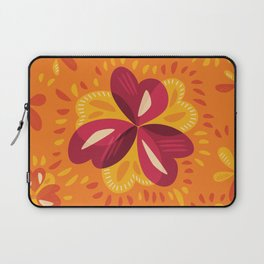 Orange And Pink Clover Abstract Floral Laptop Sleeve