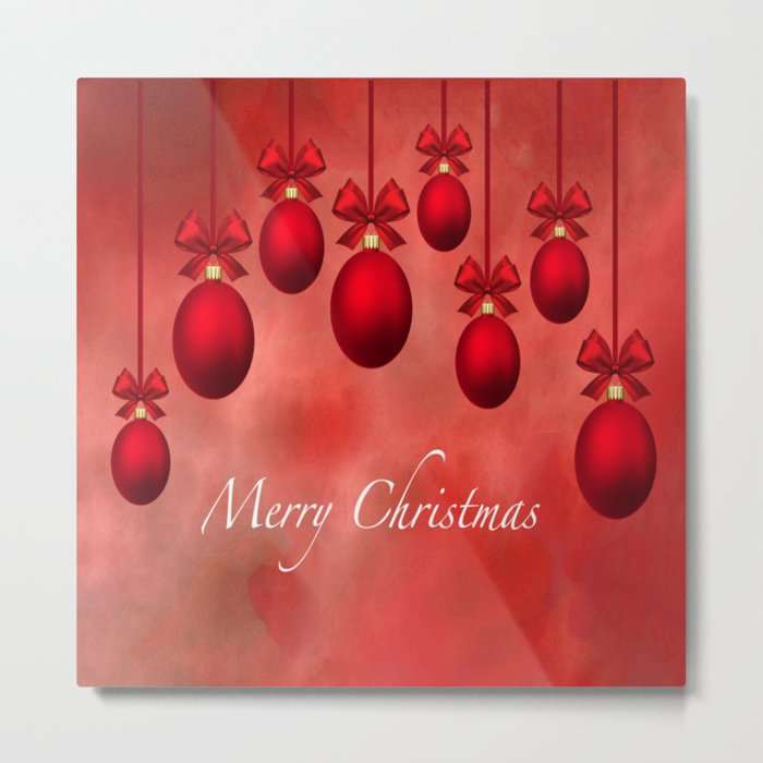 Merry Christmas Ornaments Bows and Ribbons - Red Metal Print