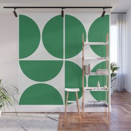 Mid Century Modern Green Square Wall Mural