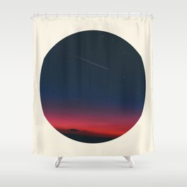 Pink Purple & Navy blue Sunset With Shooting Star Shower Curtain