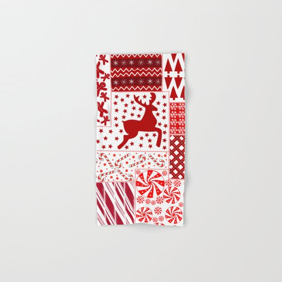 Christmas Red Quilt Holiday Design Hand & Bath Towel