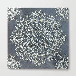 Mandala Vintage Ivory Blue Metal Print