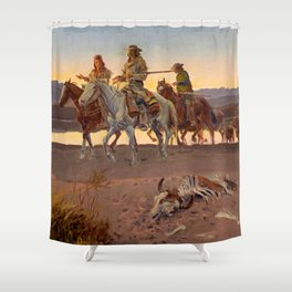 """""""Carson's Men"""" Western Art by Charles M Russell Shower Curtain"""