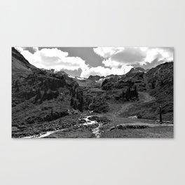 chairlift river kaunertal alps tyrol austria europe black white Canvas Print