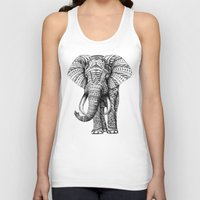 gold foil Tank Tops featuring Ornate Elephant by BIOWORKZ