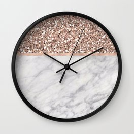 Epicurious rose gold marble Wall Clock