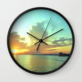 Sunset on Lake Constance Wall Clock