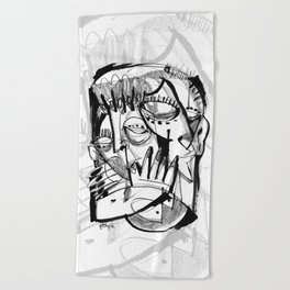 Here for Each Other - b&w Beach Towel