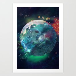 Neptune Blue Planet of the Fishes Art Print