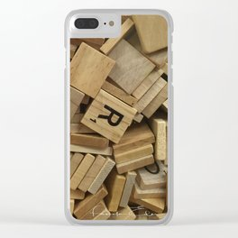 Wooden Letters Clear iPhone Case