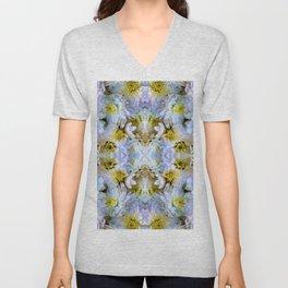 Bue Yellow Pastel Chrysanthemums Design Unisex V-Neck