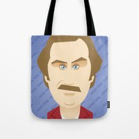 will ferrell Tote Bags featuring Will Ferrell as Ron Burgundy by Leo Maia