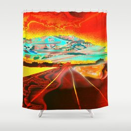 Railroad to the world. Shower Curtain
