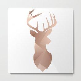 Scandi Tribal Geometric Brushed Copper Stag Metal Print