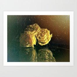 Yellow Vintage Roses Art Print