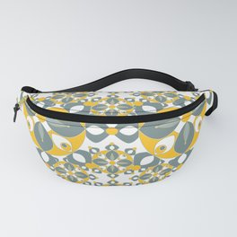 Gold, Grey and White Kaleidoscope Textile Fanny Pack