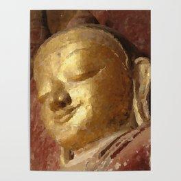 Buddha Head Gold Illustration Poster