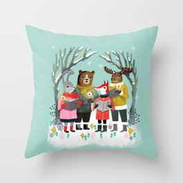 Woodland Christmas Carols by Andrea Lauren  Throw Pillow