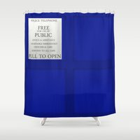 tardis Shower Curtains featuring TARDIS by Danyul