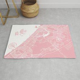 Pink City Map of Dubai, UAE Rug