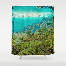 Hawaii Art, Vintage Kalalau Valley, Kauai, Na'Pali Coast Shower Curtain