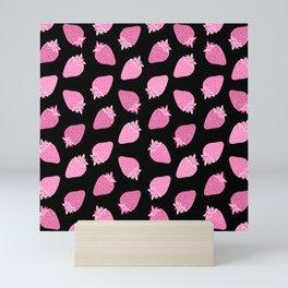 Pink and Black Strawberry Pattern Mini Art Print
