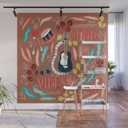Good vibes - brown Wall Mural