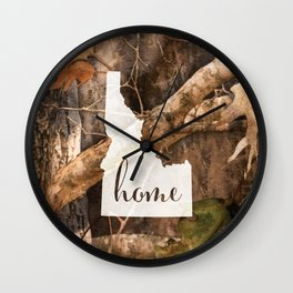 Idaho is Home - Camo Wall Clock