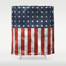 American Flag Stars and Stripes Distressed Grunge 4th. July Shower Curtain