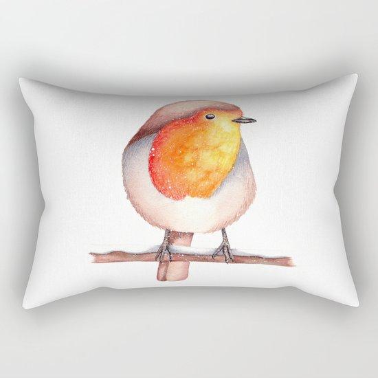 Watercolour Robin in Snow Rectangular Pillow