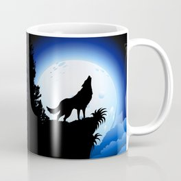 Wolf Howling at Blue Moon Coffee Mug