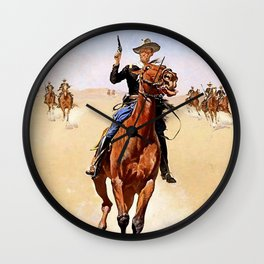 """""""The Trooper"""" Western Art by Frederick Remington Wall Clock"""
