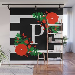 P - Monogram Black and White with Red Flowers Wall Mural