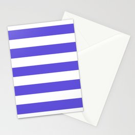 Majorelle blue -  solid color - white stripes pattern Stationery Cards