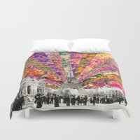 chicago bulls Duvet Covers featuring Vintage Paris by Bianca Green