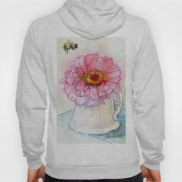 Botanical Flower Pink Zinnias in Pitcher Hoody