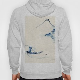 Katsushika Hokusai - A Person in a Small Boat on a River with Mount Fuji Hoody