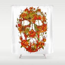 Skull Flora Shower Curtain