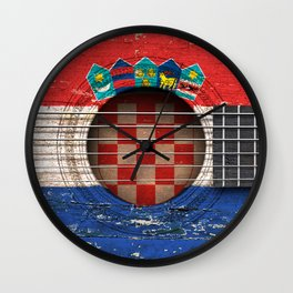 Old Vintage Acoustic Guitar with Croatian Flag Wall Clock