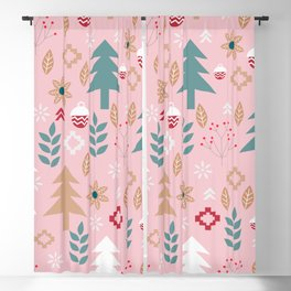 Cute Christmas in pink Blackout Curtain