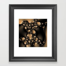 Flowers and Pebbles Fractal in beige, black, and camel Framed Art Print