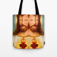 christ Tote Bags featuring Lysergic Christ by Saint Lepus