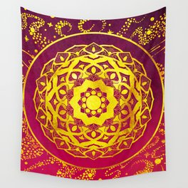 SPACE MANDALA PINK AND GOLD Wall Tapestry