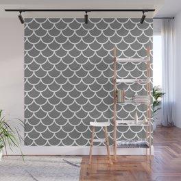 Grey fish scales pattern Wall Mural