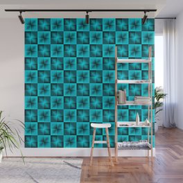 Chess light blue squares and dark stars with flowers. Wall Mural