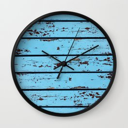 Blue Wooden Planks Wall Clock